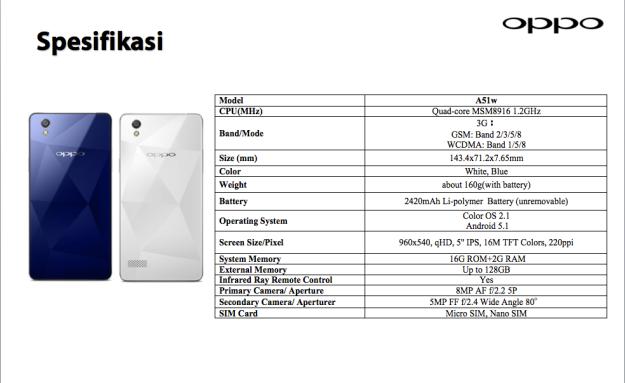 OPPO Mirror 5 Spesifikasi